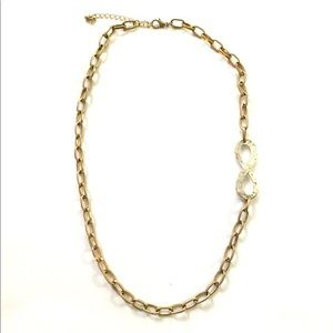 Infinity gold silver mixed necklace
